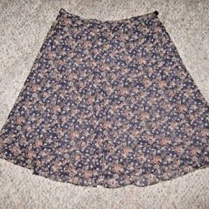 Blue w/ Beige Red Green Small Floral Flare Skirt P